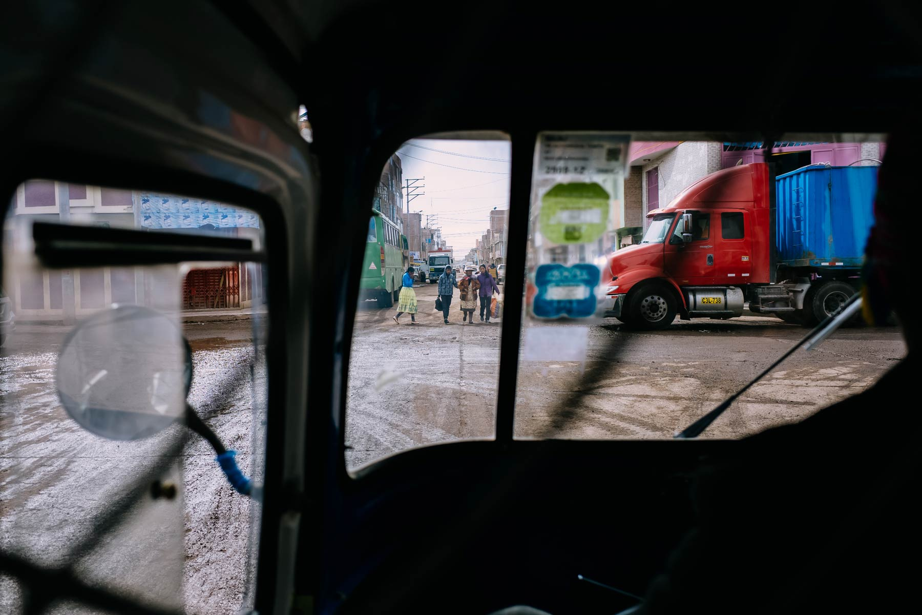 View from within a moto-taxi in Juliaca.