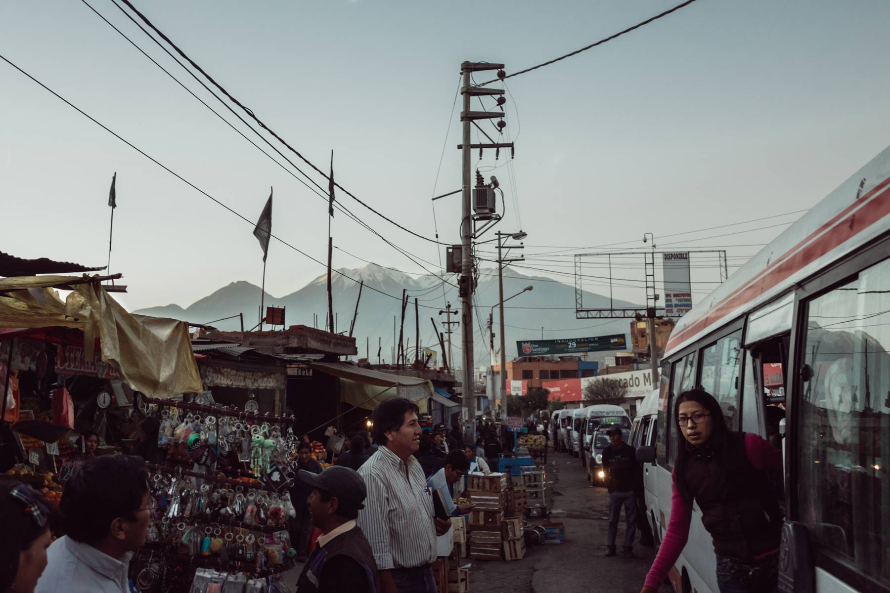 A van picks up passengers during rush hour in Arequipa.
